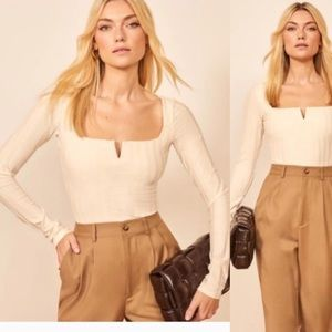 Reformation Delancey Ribbed Top in Ivory Size L